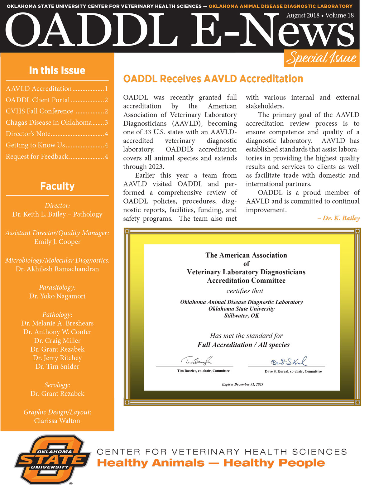 oaddl summer 2018special edition newsletter cover